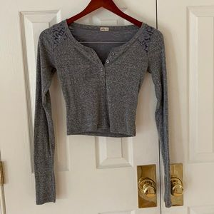 Hollister Gray Lace Long Sleeve Crop Top XS